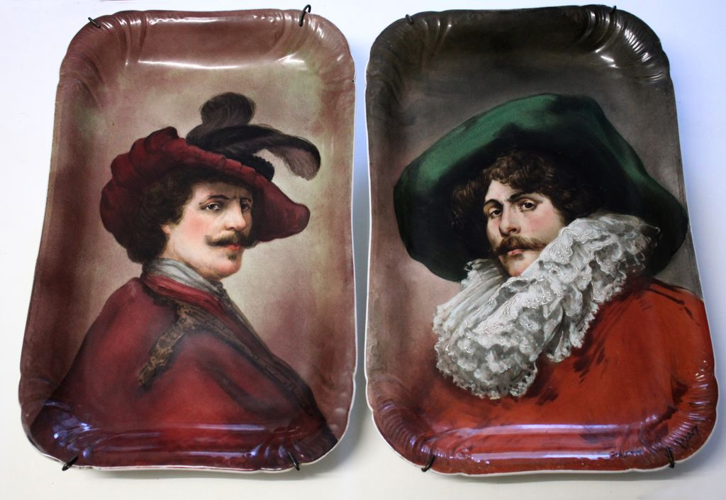 "18.5"" Rare Pair of hand-painted Limoges Plaques/trays with the portrait, artist signed, GDA 1900-1942"