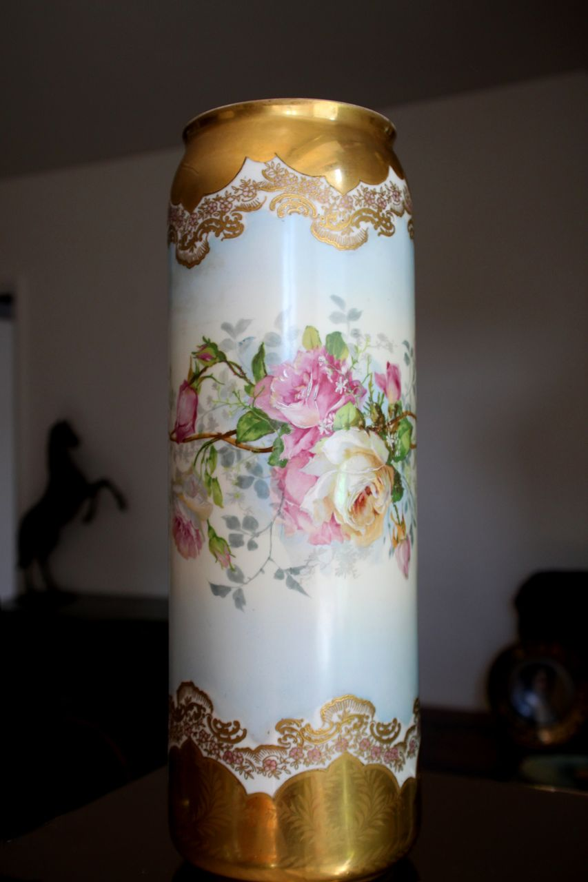 "Rare 16"" Antique Limoges France Hand decorated Vase with Roses and Heavy Gold Trim"