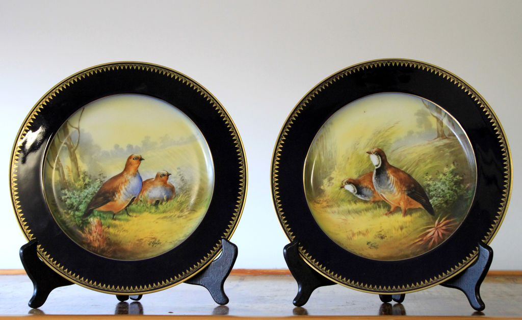 "Pair of Limoges Hand-Painted plates depicting gaming birds, artist signed ""GOLSE"", 1890s"