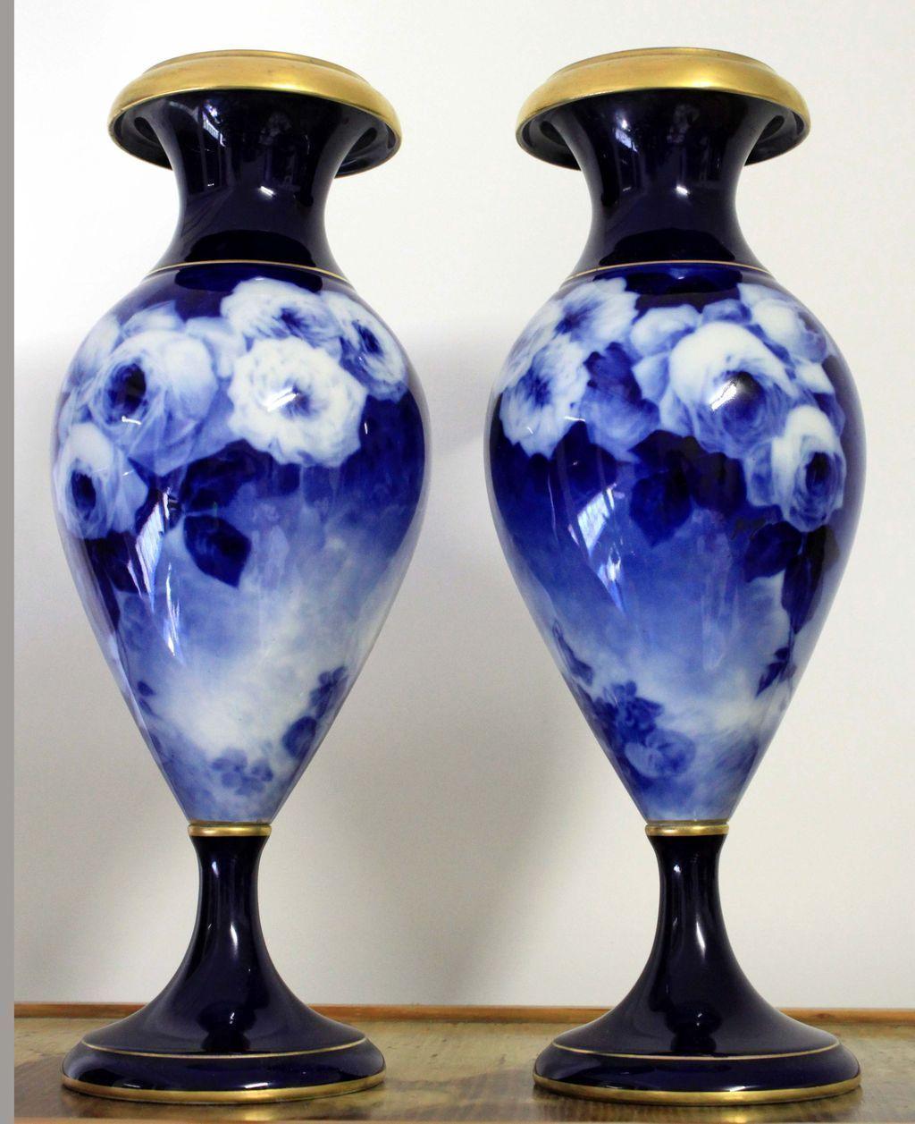 """20.5"""" Huge pair of Limoges cobalt blue vase with the roses, artist signed """"Fèvre"""", bolted base, burnished gold rim, 1920s-1930s"""