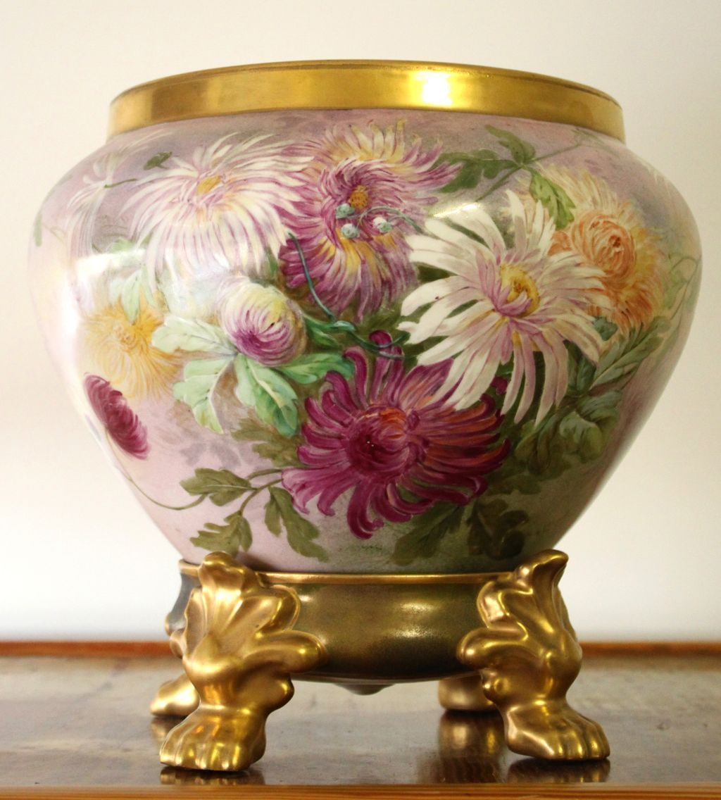 "Limoges Jardiniere/Planter/Vase  with hand painted colorful Chrysanthemums and Matching Pawed Plinth, artist signed"" G. Rosier"", 1903-1917"