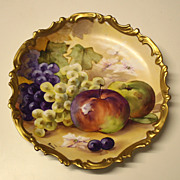 """12.4"""" Antique Hand Painted Limoges France Charger/Plate with the fruits, artist signed """"Puisoyes"""", ca 1920s"""