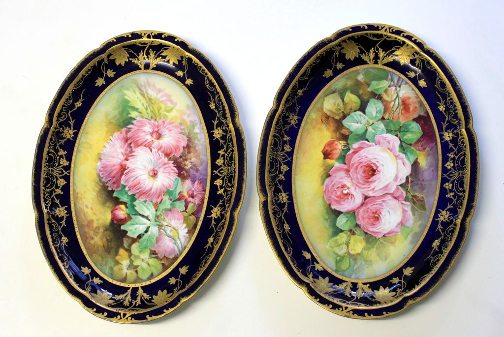 "16.33"" Pair of hand painted Limoges tray/ plate with Roses/Mums, cobalt blue finish overlaid with gold flowers and leaves, gold trim, artist signed ""D.GROP"", 1887-1904"