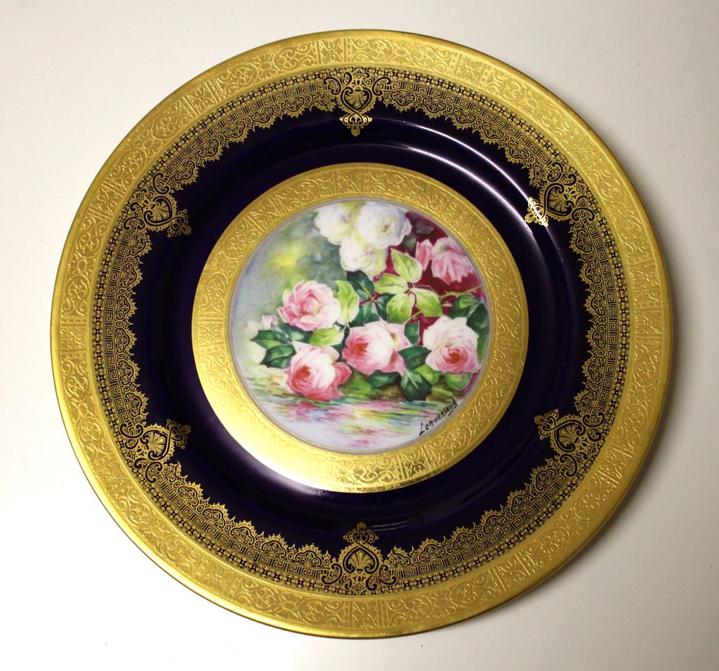 "Limoges Hand painted With Roses, Gold Encrusted Raised Gilt Cobalt Blue charger, artist signed ""Leroussaud"", 1930s"