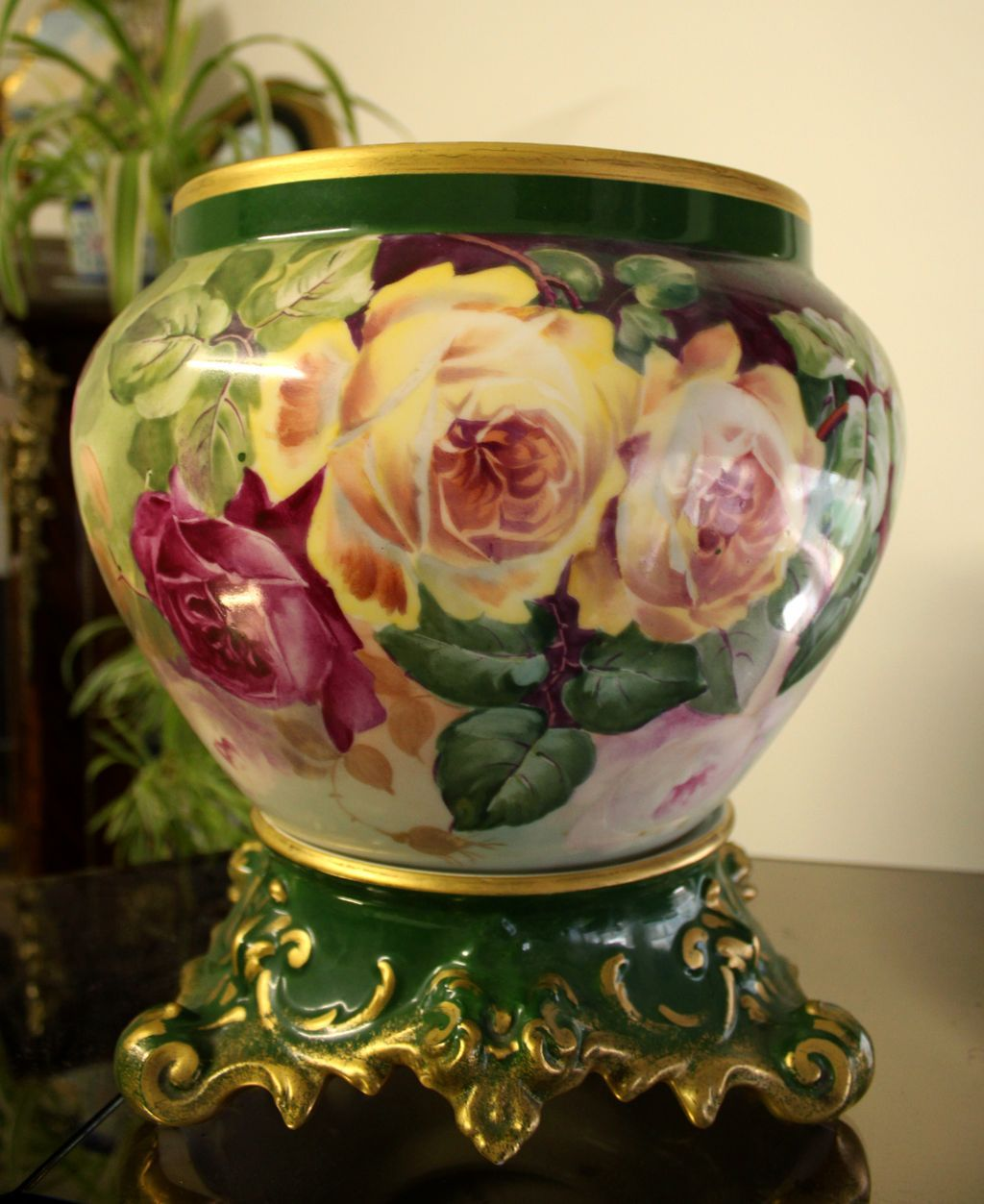 Huge limoges jardiniere cache pot with hand painted for Jardinier 78