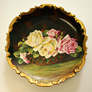 """12.6"""" Antique Hand Painted Limoges Hanviland France Tray/charger with the basket of roses, artist signed """"L. Chanteraud"""", after 1924"""
