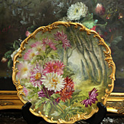"13.5"" Limoges Hand Painted Tray/plate with the mums, artist signed ""J. Golse"", after 1891"