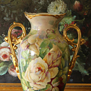 """16.4"""" Limoges France vase with hand painted roses, early 1900-1930s"""