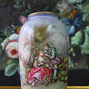 Limoges France hand painted vase with the copper base, 1908-1914