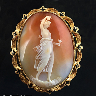 """Large Outstanding Antique Cameo Brooch/ Pendant, after """" Hebe"""" by Antonio Canova, ornate 18k gold black enamel frame, 29g, 1860s"""