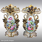 """Pair of 14.75"""" tall Old Paris Porcelain vases with hand-painted flowers, 1870s"""