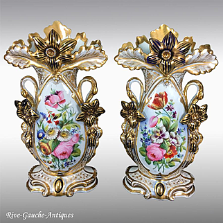 "Pair of 14.75"" tall Old Paris Porcelain vases with hand-painted flowers, 1870s"