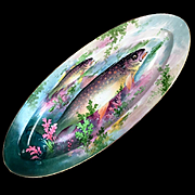 """24"""" long Limoges France Haviland hand-painted fish tray, signed, 1889-1931"""