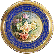 "15.75""(40cm) Museum-quality Limoges France hand-painted rose tray, encrusted raised gold gilt, artist signed ""A. Marcedet"", 1920s"