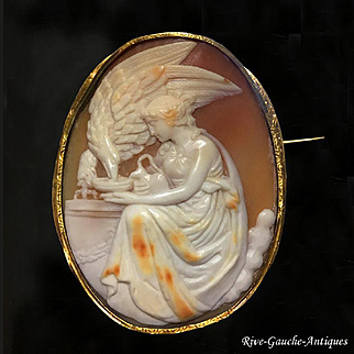 18k gold large high-relief carved cameo brooch depicting Hebe (goddess of youth) feeding Zeus's eagle, 1860s