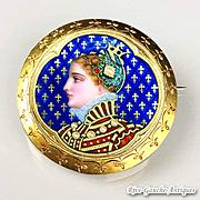 Incredible victorian enamel royal portrait brooch--18k gold & Pearls