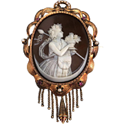 14k gold Museum Quality high-relief caved cameo brooch/ pendant of Bacchante, ca 1850-1870s