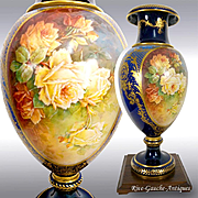 """28"""" tall ~ ONE OF A KIND! Museum Masterpiece ~ Fabulous Limoges Hand Painted Vase with exquisite raised gold paste and enameling~ Breathtaking ROSES on two sides~ artist signed """"Marcedet"""" 1920s"""