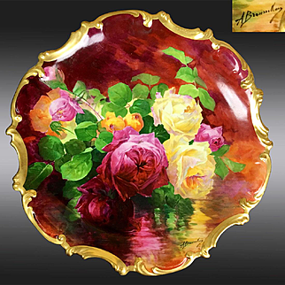 "15.75"" large ""A. Bronssillon"" signed, hand-painted Limoges France tray/ plaque, ~ Breathtaking ROSES ~ Museum Quality Masterpiece, 1906 – 1920"