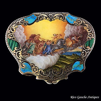 "silver and enamel powder compact/ case, after ""Aurora and the Chariot of the Sun Driven by Apollo"" by Guido Reni (1575–1642)"