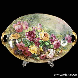 "18.7"" long huge Limoges hand painted tray/ platter with the roses, artist signed ""C. Golse"", 1891-1896"
