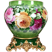 13'' tall Large Limoges France Jardiniere / cache-pot with hand painted colorful roses on separate base, T & V 1892-1907
