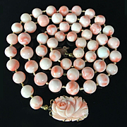 69.7g Vintage Natural Angel Skin Coral Necklace wiith Carved Floral clasp, 8.5mm-10mm