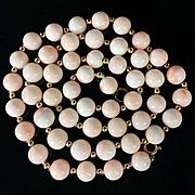 18k gold 58.5g Vintage Natural Angel Skin Coral beaded necklace, 9mm-10mm