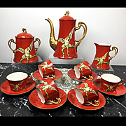 Antique French Limoges Hand-painted Tea/ coffee Set of 20 pieces, 1900s