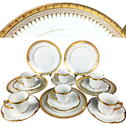 Antique Limoges France mocha coffee cups & saucers with 5 plates, 1890s