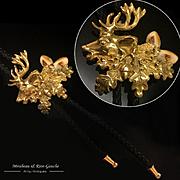 35g Rare 18k gold & elk teeth Bolo Tie/ Pendant Necklace 1950s