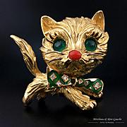 French 18k gold 3D cat figural brooch, jade eyes & diamond