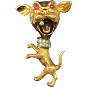 French 18k gold 3D dog figural brooch, rubies eyes & diamond tooth and collar, S & E