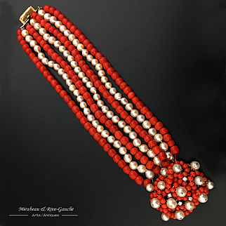 WOW 93.6g! Rare 18kt gold 7 strand bracelet, with faceted red coral bead, pearl and 4 diamonds