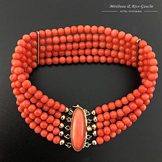 18k Gold 5 strands coral bead bracelet