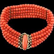 18k Gold 5 strands coral bead bracelet, 23.8g