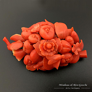 22.6g Rare Large Antique Carved Coral Brooch, flowers, fruits & bee, 1870s
