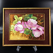 Limoges France Stunning hand-painted rose framed plaque/ painting on porcelain 1930s
