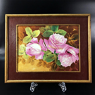 Limoges France Stunning hand-painted rose framed plaque/ painting on porcelain 1930s