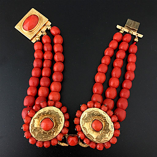 18k Gold 3 strands faceted red coral bead bracelet, 37.7g