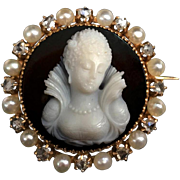 Rare 18k gold 3D full face carved agate/ Carnelian cameo brooch, diamante and pearls, 1870s