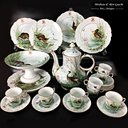 25 pieces French hand-painted flowers Old Paris porcelain Tea & coffee Set in Sevres style, late 19th century