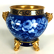 """11.8"""" tall Large Limoges hand-painted Jardiniere/cache-pot with elephant head handles on separate base, Paw/Claw Feet, Cobalt & Gold gilt with hand painted roses, artist signed"""