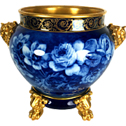 "11.8"" tall Large Limoges hand-painted Jardiniere/cache-pot with elephant head handles on separate base, Paw/Claw Feet, Cobalt & Gold gilt with hand painted roses, artist signed"