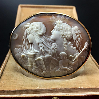 Superb Large Museum Quality 18kt Shell Cameo brooch of Day (Dawn) and Night, century 19th