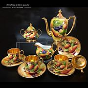 Brookdale fine bone china hand-painted fruit tea/ coffee Set of 11 porcelain pieces, 1950s