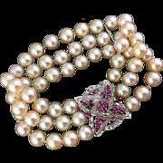40.3g Vintage 18k gold 3 Strand Cultured Pearl Bracelet
