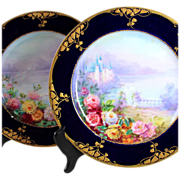 Pair of Limoges Haviland France hand-painted cobalt blue Limoges chargers, 1894-1931