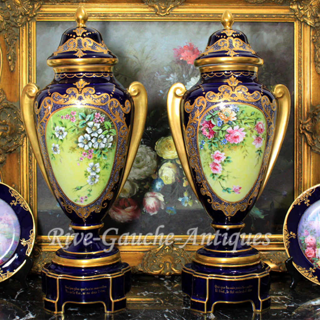 20 tall museum quality pair of limoges france cobalt blue 20 tall museum quality pair of limoges france cobalt blue mirabeau rive gauche antiques ruby lane reviewsmspy