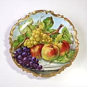 """13.5"""" Hand Painted Limoges France Charger/Plate with the fruits, ca 1900-1920s"""